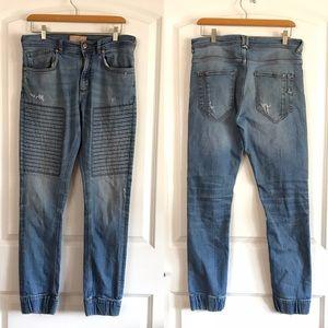 Zara Man Distressed Moto Jogger Jeans
